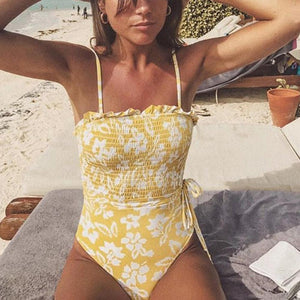Sexy Bikini Fresh Printed Bandeau Sling One-Piece Swimsuit Yellow l