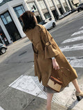 Fashion Bell Sleeve Pure Colour Over Knee Coat Khaki l