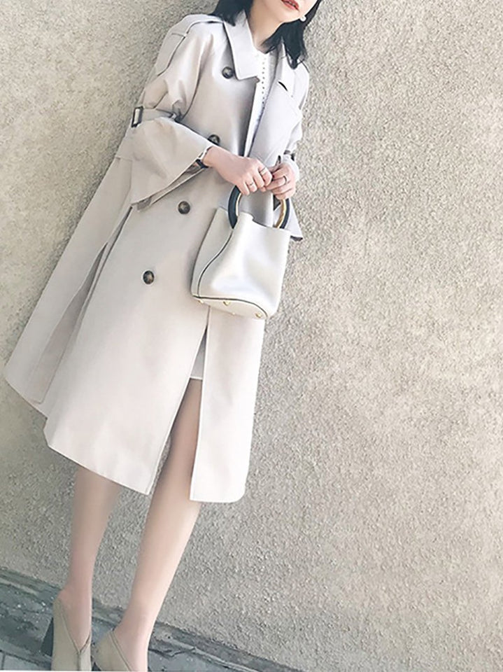 Fashion Bell Sleeve Pure Colour Over Knee Coat Light Gray s