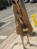 Fashion Bell Sleeve Pure Colour Over Knee Coat Khaki m