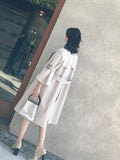 Fashion Bell Sleeve Pure Colour Over Knee Coat Light Gray m