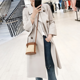 Fashion Bell Sleeve Pure Colour Over Knee Coat Light Gray xs