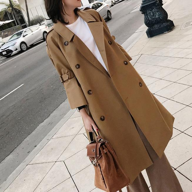 Fashion Bell Sleeve Pure Colour Over Knee Coat Khaki s