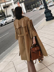 Fashion Bell Sleeve Pure Colour Over Knee Coat Khaki xl