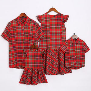 Plaid Falbala Family Outfits Red boy-110