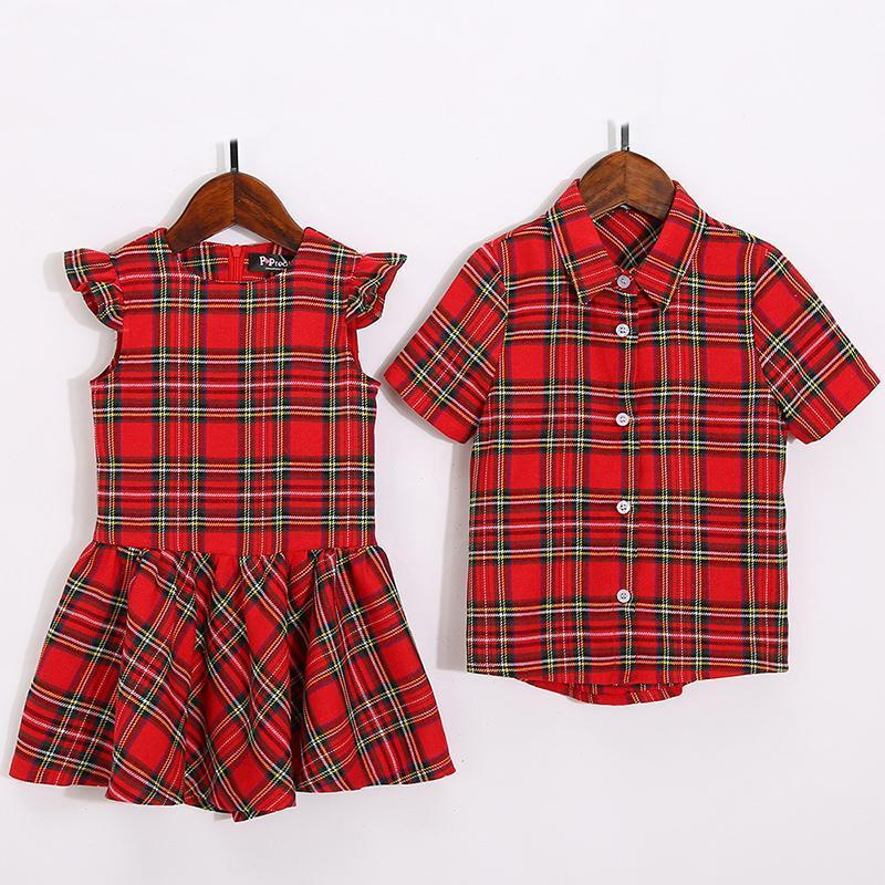 Plaid Falbala Family Outfits Red girl-110