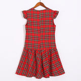 Plaid Falbala Family Outfits Red boy-130