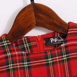 Plaid Falbala Family Outfits Red girl-100
