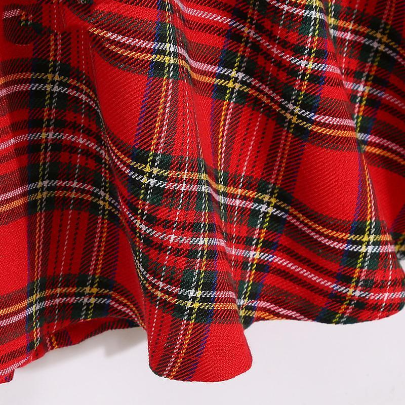 Plaid Falbala Family Outfits Red girl-90