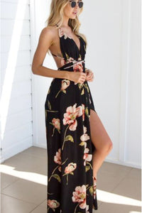 Floral Sexy V-neck Long Pleated Maxi Dress