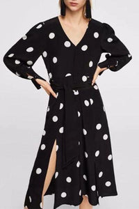 Elegant Polka-Dot V-Neck Maxi Dress black xs