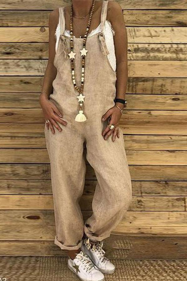 Sexy Slim Thin Jeans Wide Leg Jumpsuit khaki s