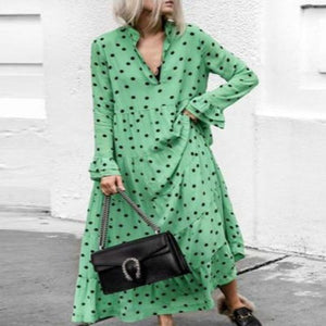 Fashion V Collar Dot Flouncing Green Maxi Dress