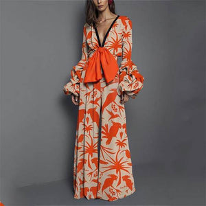 Sexy Deep V Collar Floral Printed Elastic Waist Jumpsuit