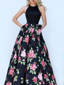 Floral Split-joint Backless Printing Maxi Dress BLACK S
