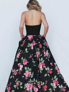 Floral Split-joint Backless Printing Maxi Dress BLACK L