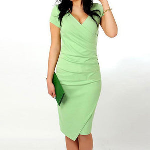 V Neck  Asymmetric Hem  Plain Bodycon Dress light_green 3xl