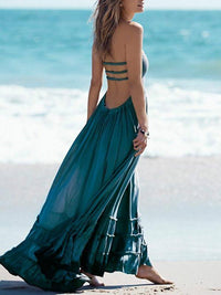 Fashion Sexy Off-Back Lace-up Beach Maxi Dress BLUE S(Bust31.5-34.65Length43.3)