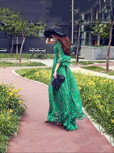 Bohemia Chiffon Green Flared Sleeves V-neck Maxi Dress L