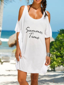 Round Neck Loose Cotton-Blend Alphabet Mini Dress T-Shirt WHITE