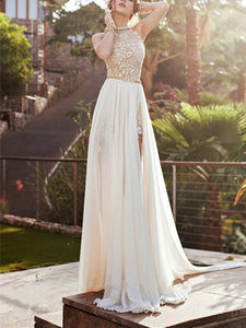 Sexy Halterneck Backless Maxi Party Dress WHITE S
