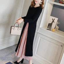 Fashion Round Collar Hem Split Knitted Sweater Fake Two Maxi Dress