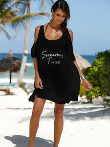Round Neck Loose Cotton-Blend Alphabet Mini Dress T-Shirt BLACK