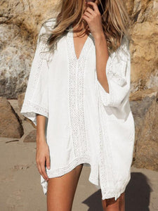 V-Neck White Blue Cotton Blend Mini Cover-Up Swimwear Dress BLUE