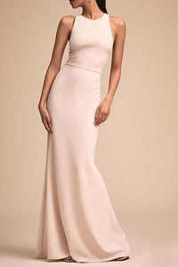 Fashion Bare Back Across Sleeveless Pure Colour Evening Dress White s