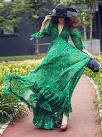Bohemia Chiffon Green Flared Sleeves V-neck Maxi Dress S