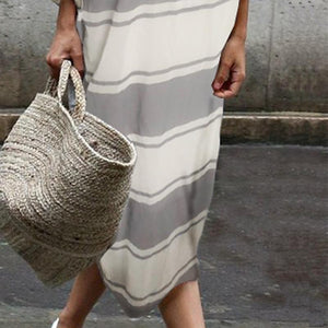Cotton Round-Neck Stripe Two Pieces Maxi Dress same_as_photo 2xl