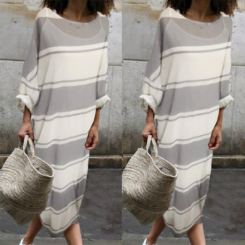 Cotton Round-Neck Stripe Two Pieces Maxi Dress same_as_photo 3xl