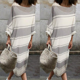 Cotton Round-Neck Stripe Two Pieces Maxi Dress same_as_photo m