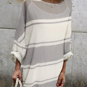 Cotton Round-Neck Stripe Two Pieces Maxi Dress same_as_photo l