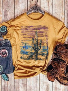 Cactus Floral Half Sleeve T-Shirts Tops YELLOW S