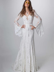Lace Hollow Flared Sleeves Evening Dress WHITE L