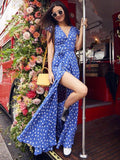 Pretty Bohemia Floral V Neck Maxi Dress BLUE S