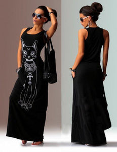 Cat Printed Straps Sleeveless Maxi Dress BLACK L