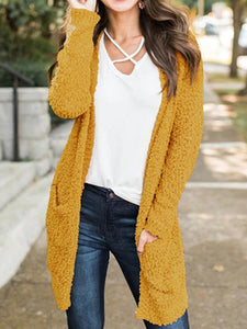 4 Colors Knitting Cardigan Tops YELLOW S