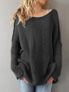 Loose Solid Color Knitting Sweater Tops BLACK XL