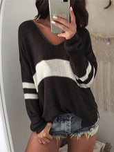 V-neck Hollow Striped Sweater Tops