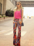 Fashion Floral Bell-bottoms Casual Pants M