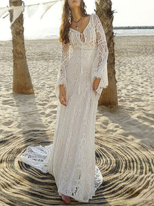 Lace Hollow Flared Sleeves Evening Dress WHITE S