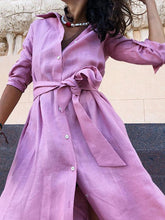 V-neck Long Sleeves Shirt Belted Maxi Dress