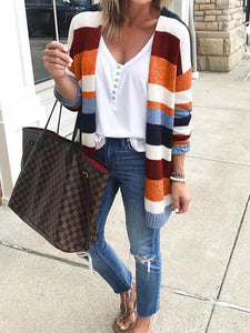 Striped Knit Sweater Cardigans Tops SAME AS PICTURES XL