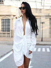 White Long Sleeveless Shirt Mini Dress