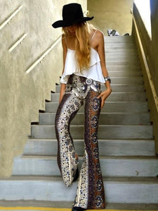Sexy Snake Pattern Bell-bottoms Casual Pants COFFEE S