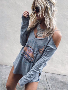 Off-the-shoulder Blouses\u0026Shirts Tops GRAY S