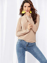 Solid Color Knitting Hight Collar T-shirt Top