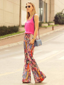 Fashion Floral Bell-bottoms Casual Pants L